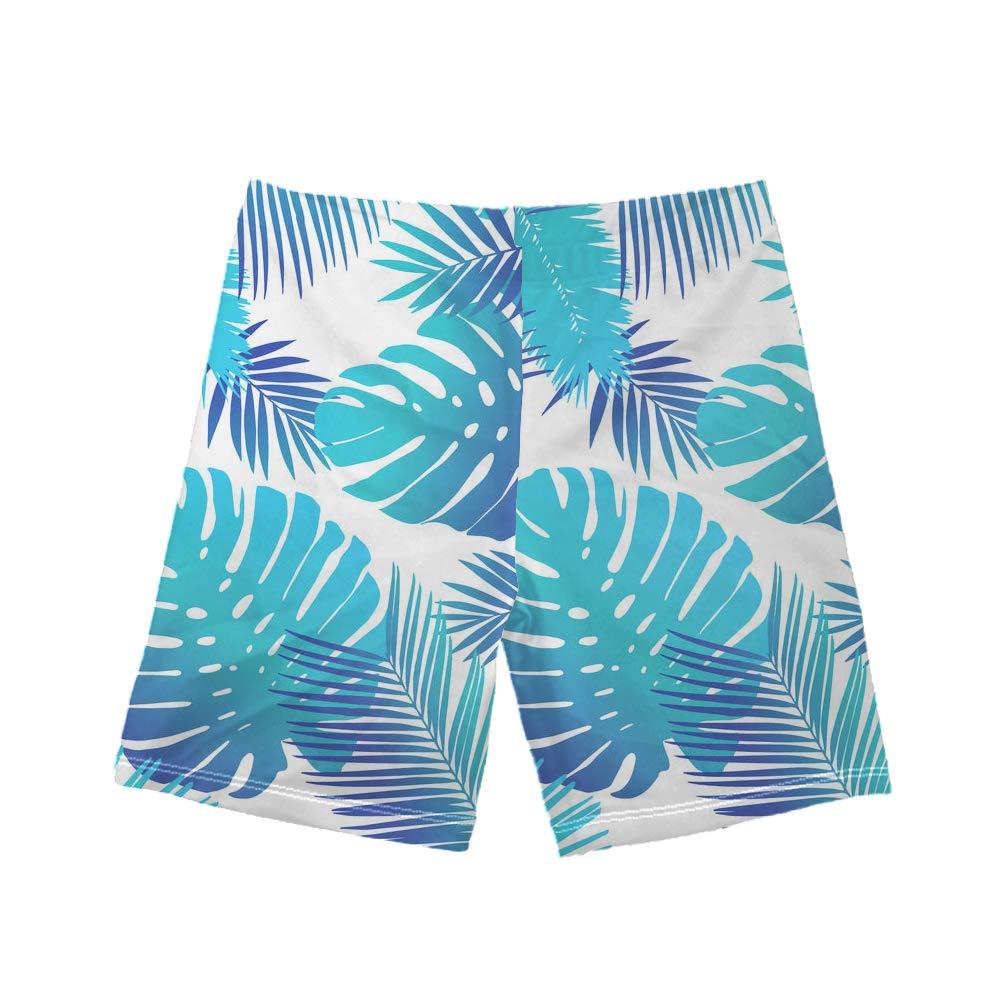 WHEREISART Boys Tropical Plant Leaves Print Beach Swim Trunk Elastic Waist