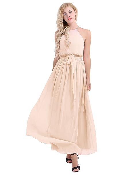 86c7f12d6 FEESHOW Halter Casual Maxi Dress Women's Chiffon Formal Evening Dress  Apricot US Size 4