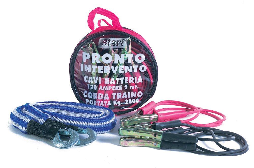 START Kit Intervento Auto Corda Traino + Cavi Batteria 120 Manutenzione Auto