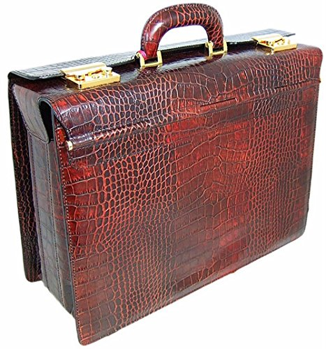 Pratesi Italian Leather Lorenzo il Magnifico Pilot case Croco Leather, Dark Brown Croco