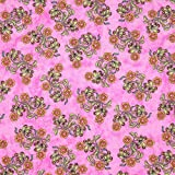 RJR Sew Catty Cat Floral Pink, 44-inch Wide Cotton Fabric Yardage
