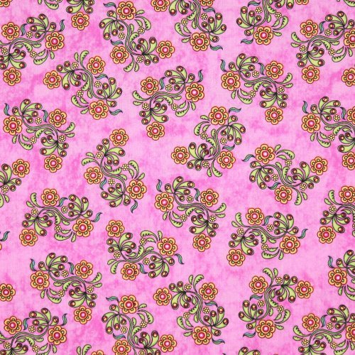 RJR Sew Catty Cat Floral Pink, 44-inch Wide Cotton Fabric Yardage by RJR Fabrics