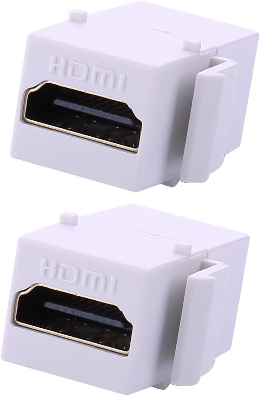 2 LOT HDMI Female Keystone Wall Jack Coupler white
