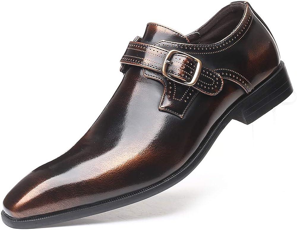Zapatos Hombre Vestir de Cuero Brogues Monje Hebilla Mocasines Calzado Negocios Boda Clásico Cuero Sintetico Marrón EU 42: Amazon.es: Zapatos y complementos