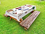 Ambesonne Girls Outdoor Tablecloth, Nostalgic Female Beach Fashion Objects Solar Summer Travel Adventure Palms Concept, Decorative Washable Picnic Table Cloth, 58 X 120 inches, Multicolor