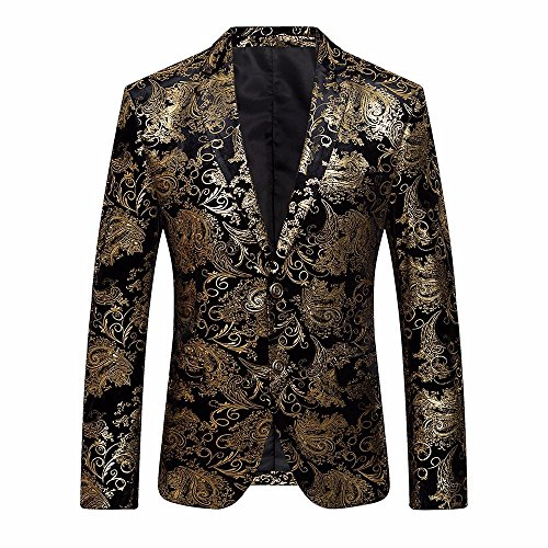 (Suit Jacket Men's Printed Gold Notched Lapel Slim Fit Stylish Coat Blazer Jacket Dress)