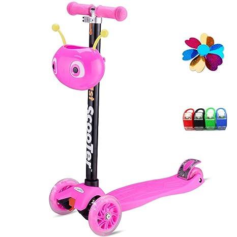 keynew Tilt Kickboard Mini T – Bar 3 rueda patinete infantil para niño niña con LED