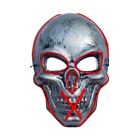 Máscara de Halloween con luz LED, máscara de purga para festival ...