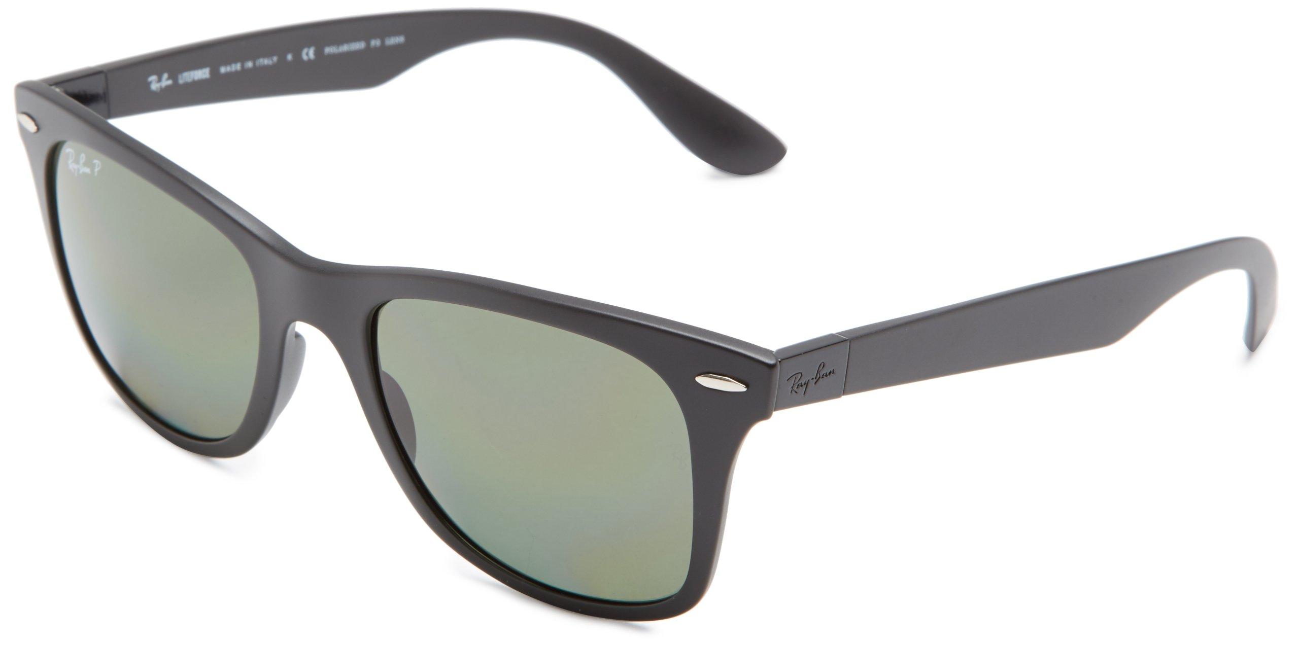RAY-BAN RB4195 Wayfarer Liteforce Sunglasses, Matte Black/Polarized Green, 52 mm by RAY-BAN