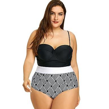 6b97a53594f25 Amazon.com  Rosegal Plus Size Swimsuit Two-Tone Striped Sexy Sea Bikini  Padded Summer High Waisted Swimwear Black  Clothing