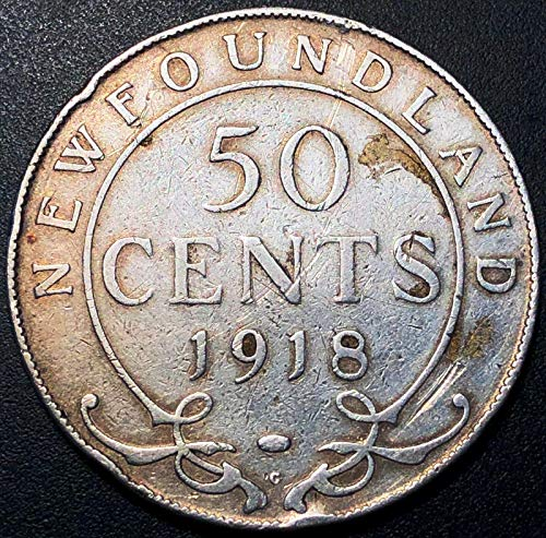 1918C NEWFOUNDLAND SILVER 50 CENT HALF DOLLAR 92.5% for sale  Delivered anywhere in Canada