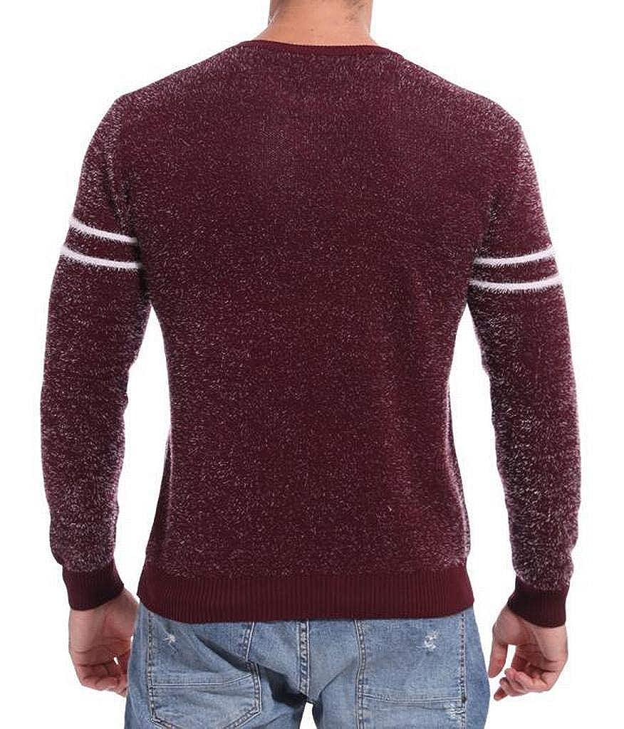 WAWAYA Mens Slim Fit Contrast Long Sleeve Crew Neck Basic Knit Pullover Sweater