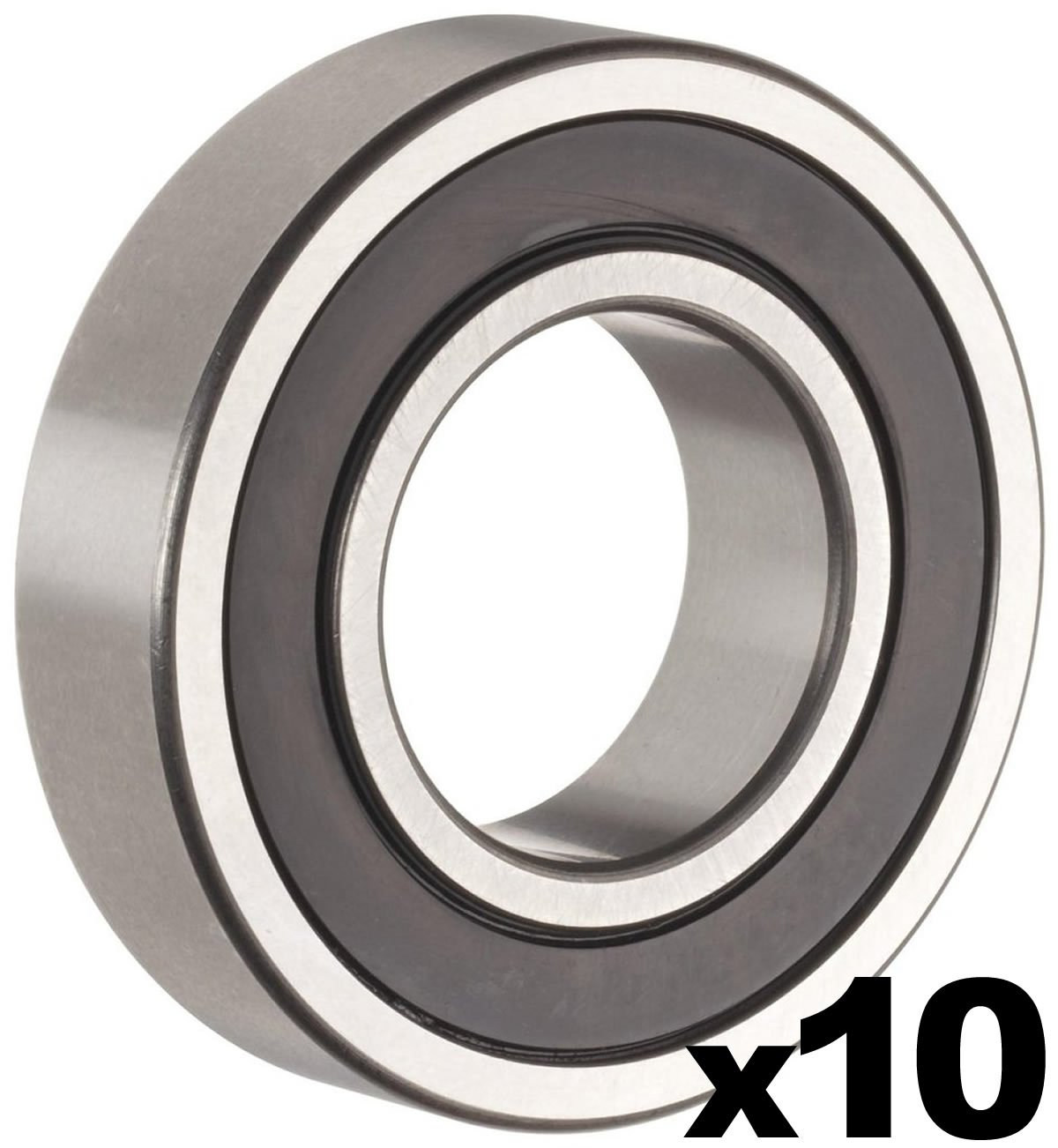 6203-2RS Sealed Bearing - 17x40x12 - Lubricated - Chrome Steel (10 PCS) by PGN (Image #1)