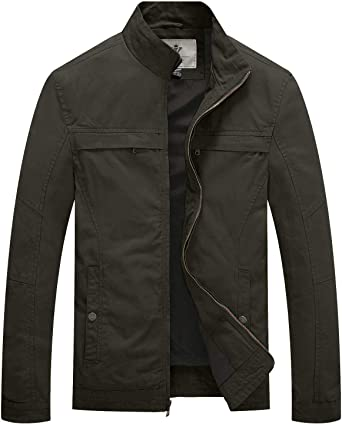 WenVen Mens Washed Cotton Multi Pockets Stand Collar Military Casual Jacket