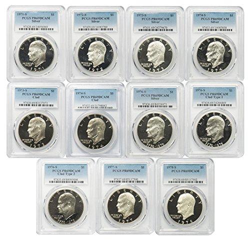 (1971-1978 S Silver & Clad Eisenhower Ike Dollar PCGS PR69DCAM 11 Coin Set )