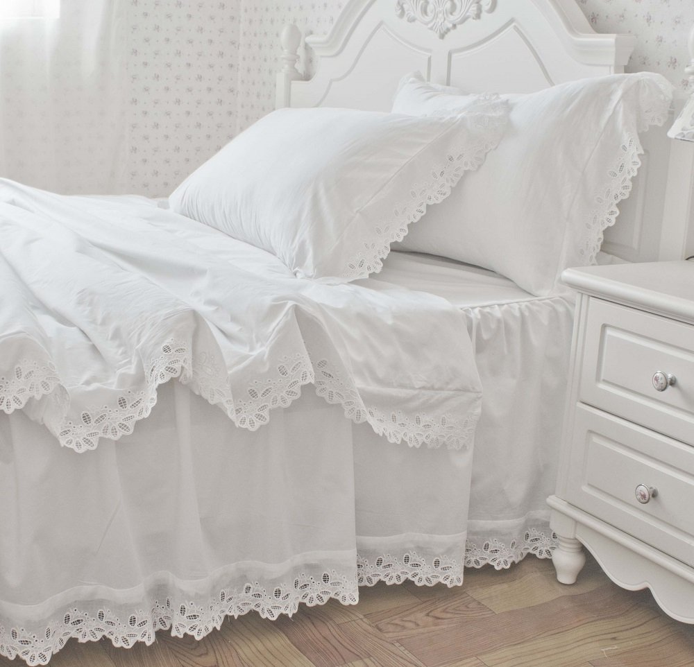New White Embroidered Lace Bedding Sets White Bedding Set