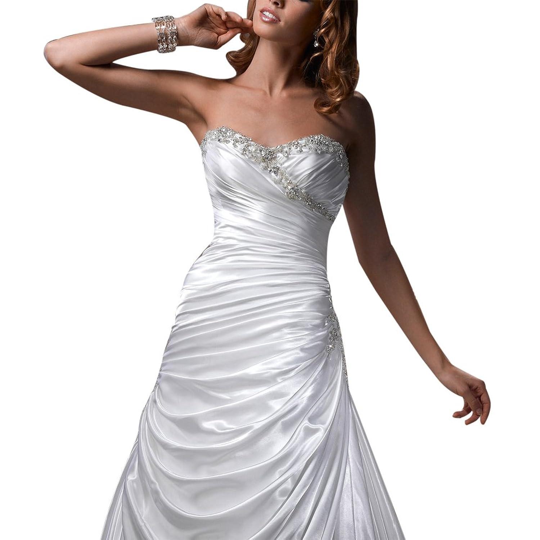GEORGE BRIDE Charming Sweetheart Chapel Train Satin Wedding Dress
