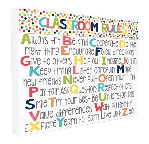 Stupell Home Décor Classroom Rules Colorful Alphabet Stretched Canvas Wall Art, 16 x 1.5 x 20, Proudly Made in USA