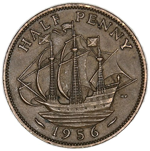 1956 UK UK Half Penny Elizabeth II Halfpenny Good