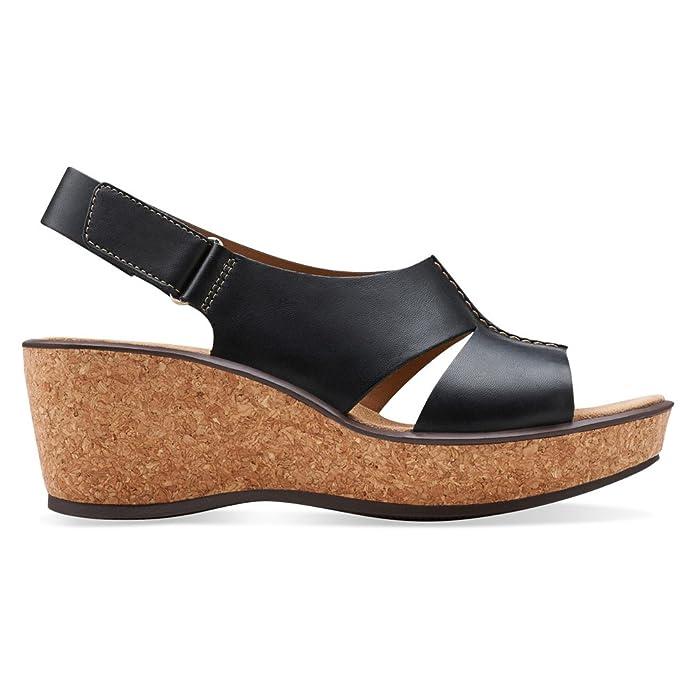 Amazon.com | CLARKS Women's, Rosemund Dune Wedge Slingback Sandals Black  7.5 M | Shoes