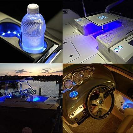 Iycorish 2 Pezzi Portabicchieri Luce Un LED 14 Porta Bicchieri da Incasso nel Acciaio Inox Portabicchieri Forma Tazza per Auto Marine Barca