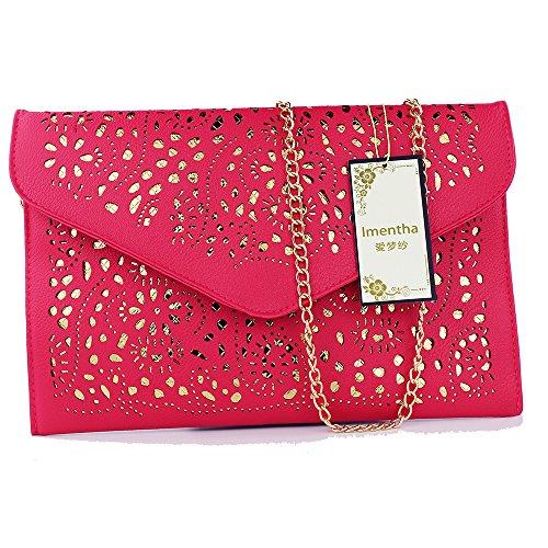 women bag 2017 bolsa feminina women purses and handbags women leather handbags crossbody bags for women crossbody purse bolsos mujer elegante bag small crossbody bags for women clutch bag (rose red) by imentha (Image #1)