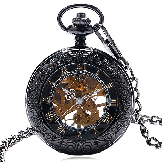 Reloj de Bolsillo para Hombre, números Romanos, Esqueleto de Cristal, mecánico, Reloj de Bolsillo para Viento, Regalo para Hombres: Amazon.es: Relojes