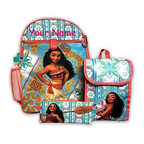 Disney Personalized Books - Personalized Disney Moana Backpack Book Bag Accessories and Lunch Bag 5 Piece Set with Water Bottle for Back to School - 16 Inches