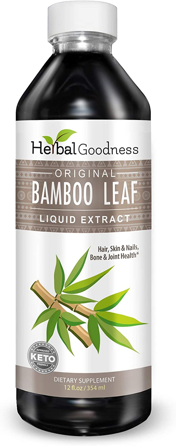 Bamboo Leaf Extract Liquid - 70% Natural Silica - Vegan Collagen Superfood Dietary Fiber for Hair, Skin, Nail & Joint Health, Supplement to Improve Bone Density Reduce Wrinkles Slimming Diet 12 fl oz