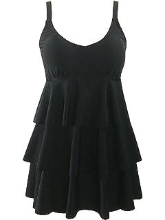 Azue Damen Badekleid Tankini Bauchweg Effekt Elegante Badeanzug mit Röckchen  Schwimmkleid 2e8edf0517