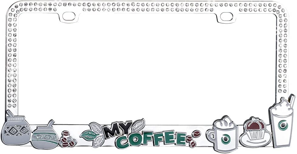 Valor Auto Companion LPF2MC022WIT Cup of Coffee Design Metal License Plate Frame with White Crystals