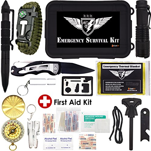 Everlit Emergency Survival Kit 25-In-1 Tool Box, Tactical Outdoor Gears, First Aid Supply, Survival Bracelet, Emergency Blanket, Tactical Pen, Fire Starter, Plier, for Camping, Hiking, Hunting