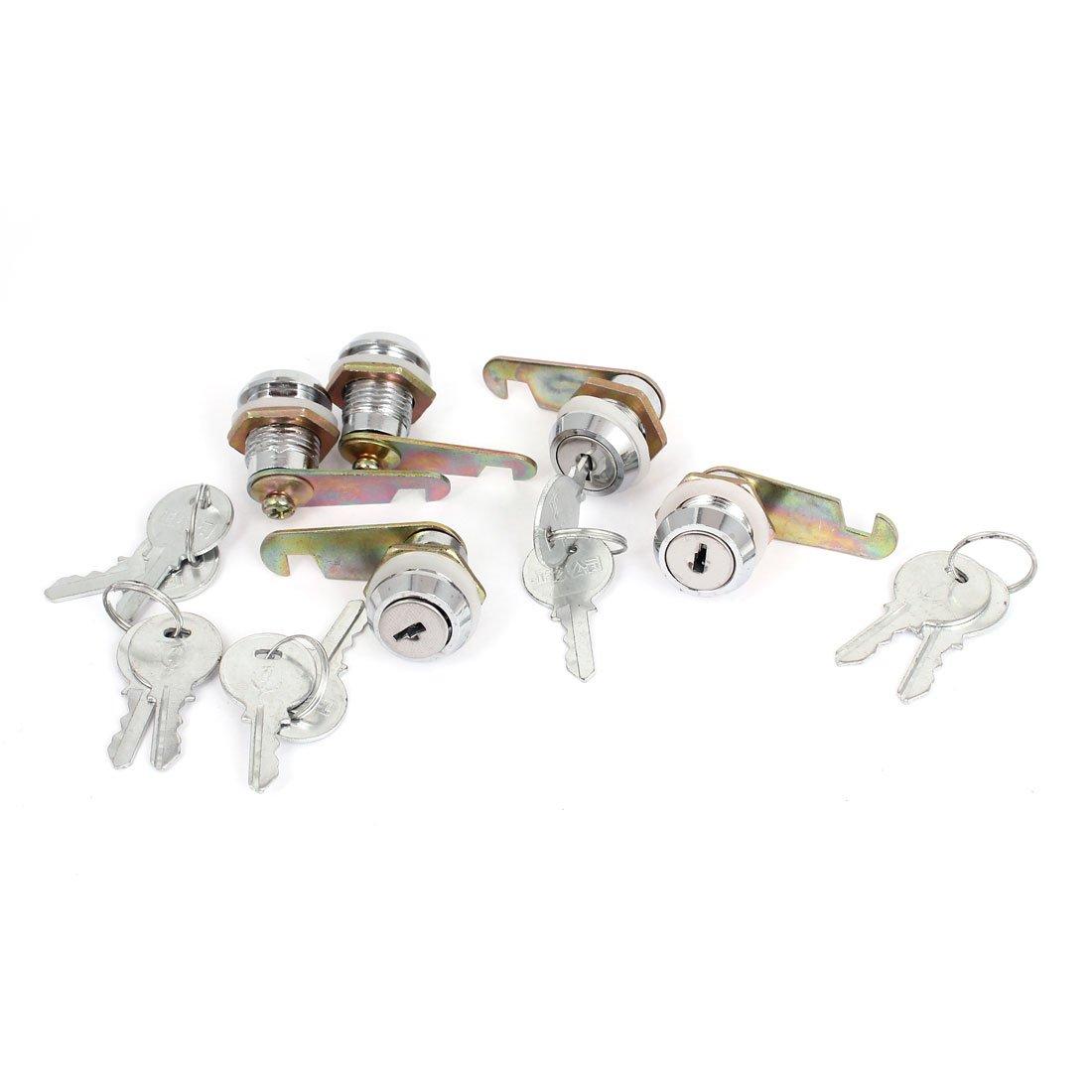Cabinet Toolbox Drawer 17.5mm Dia Thread Shaft Tubular Cam Lock 5pcs
