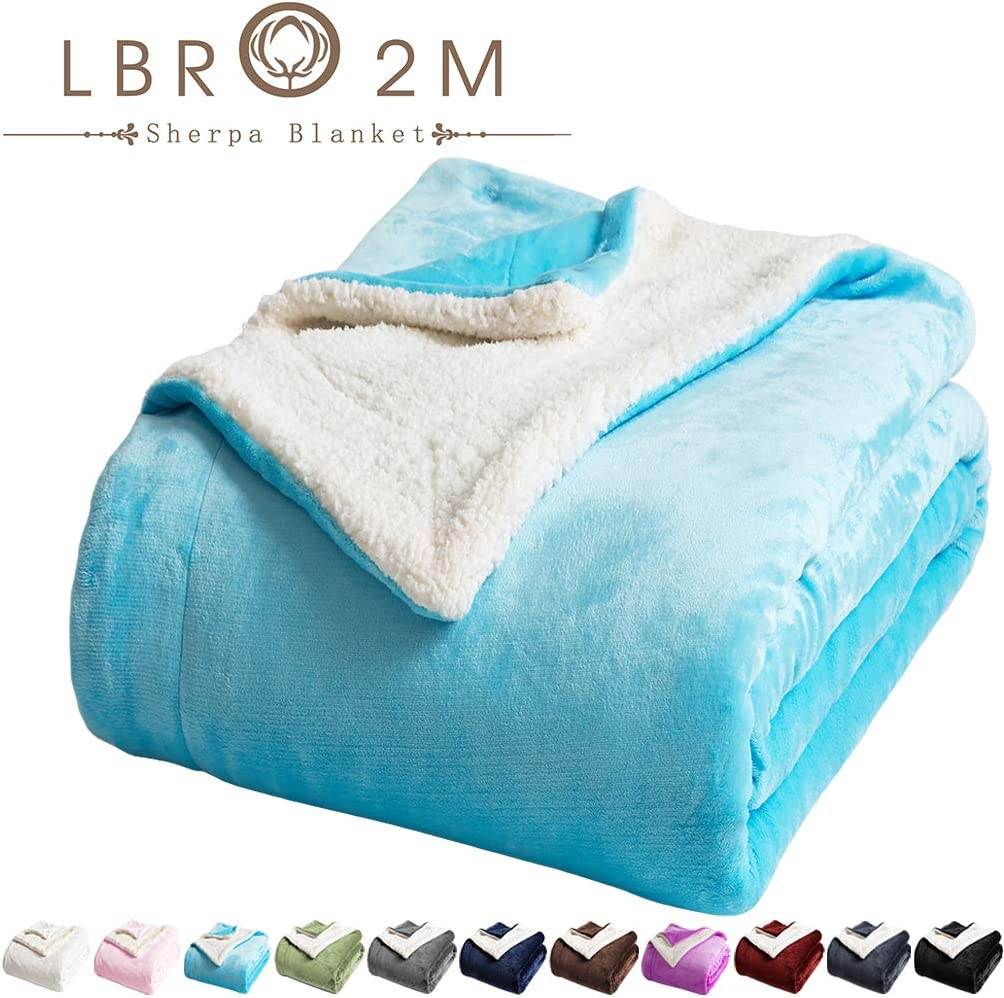 LBRO2M Sherpa Fleece Bed Blanket Queen Size Super Soft Fuzzy Plush Warm Cozy Fluffy Microfiber Couch Throw Velvet Double Reversible Luxurious Blankets (Teal, Queen(90x90 Inches))