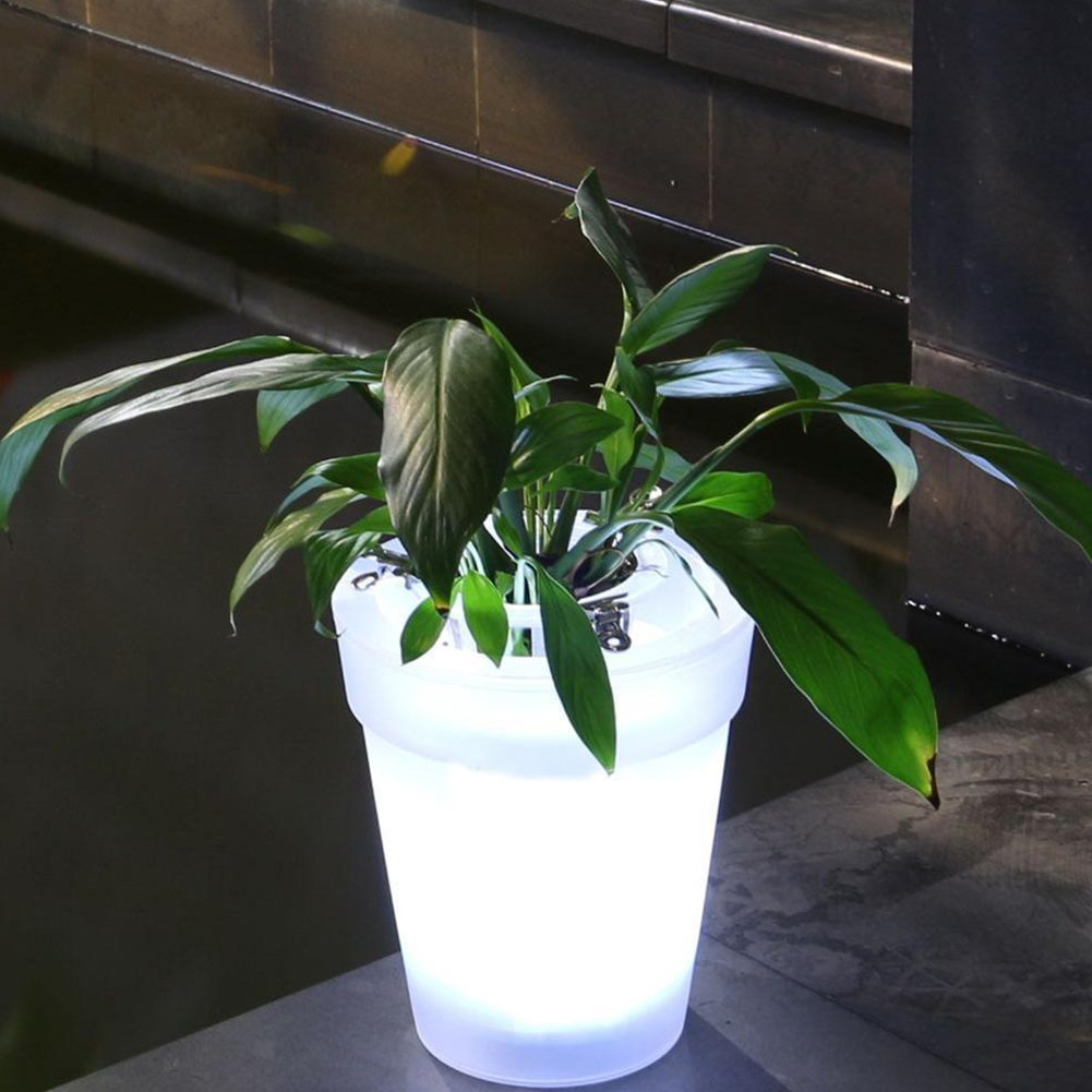 Illuminated Plant Pot Flower Pot with LED Lighting Solar Flower Transparent Flower Pot Light Lamp Decorative Light Modern Planter Vase Landscape for Desk Garden Yard(white) MOOUK