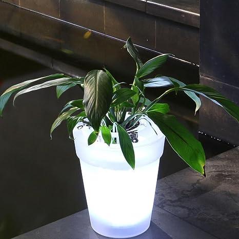 HOMYY LED solare vaso di fiori lampada da giardino luminoso bianco ...