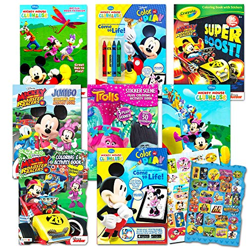 Disney Coloring Books For Kids Toddlers Bulk Set -- 8 Books and Sticker Pack (Mickey Mouse, Minnie Mouse and More!) (Libros Para Colorear)