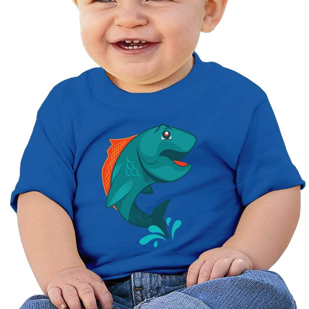 Cute Short Sleeves T-Shirt Green Fish 6-24 Months Baby Boy Infant
