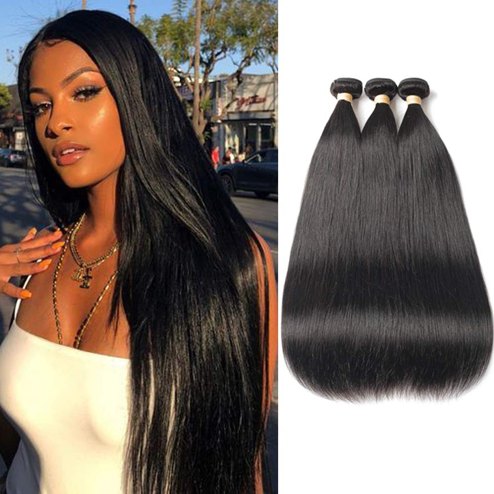 FASHION QUEEN Hair Brazilian Straight Hair 3 Bundles 8A Unprocessed Virgin Hair Human Hair Bundles Natural Color (16 18 20) by FASHION QUEEN