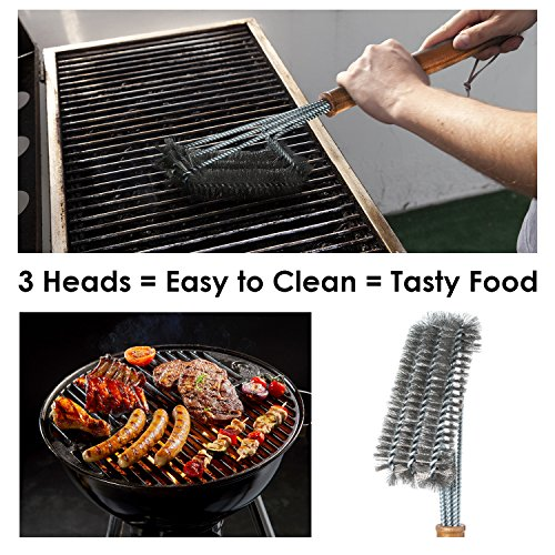 BBQ-Aid Grill Brush – Cleans All Angles, Extended, Large Wooden Handle and Stainless Steel Bristles – No Scratch Cleaning for Any Barbecue or Grill: Char Broil & Ceramic by BBQ-Aid (Image #2)
