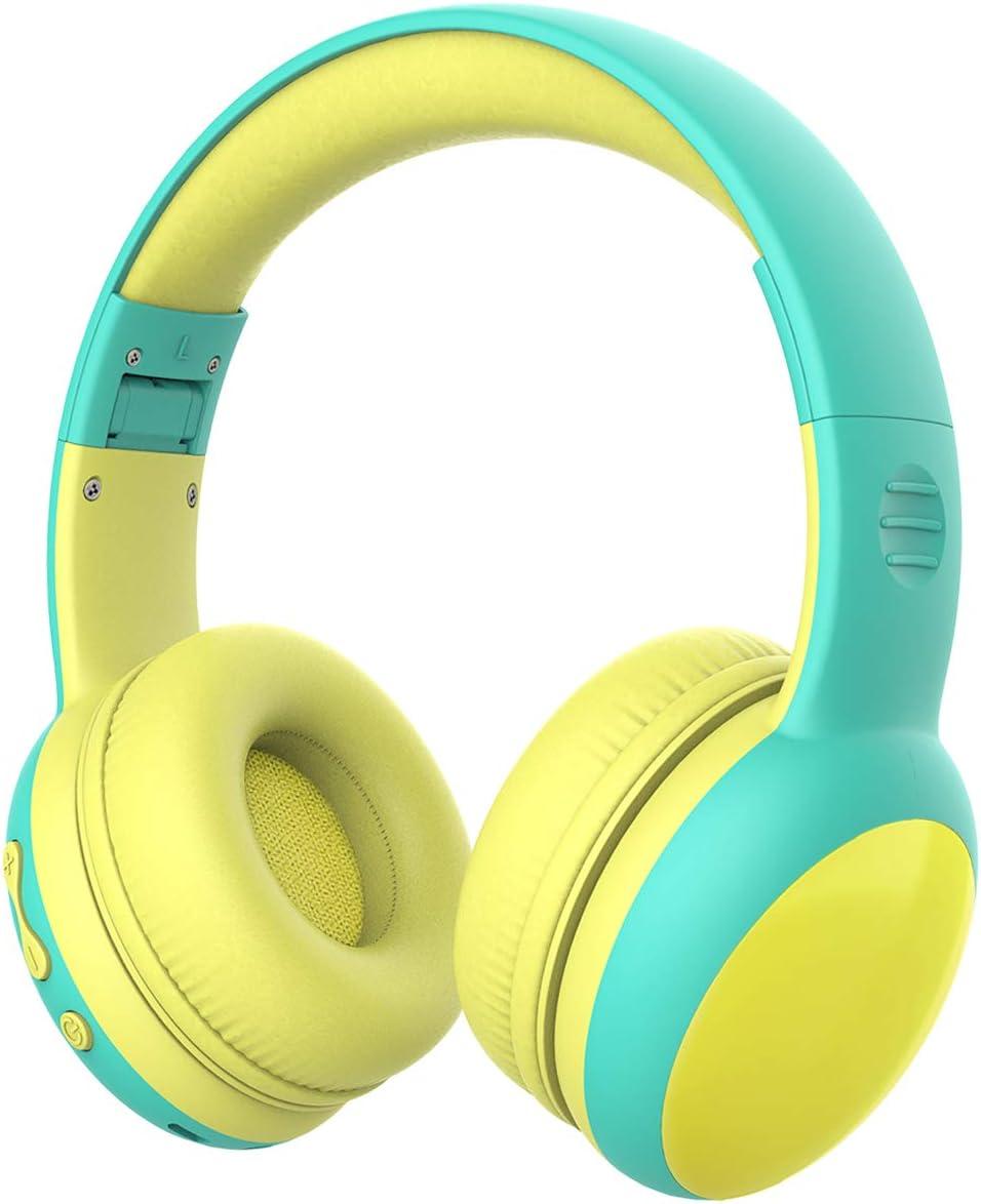Auriculares Bluetooth para niños, Auriculares Plegable para niños con 85dB Volumen Limitado, Auriculares Ajustable y Plegable con micrófono, niñas y niños - Verde New Version