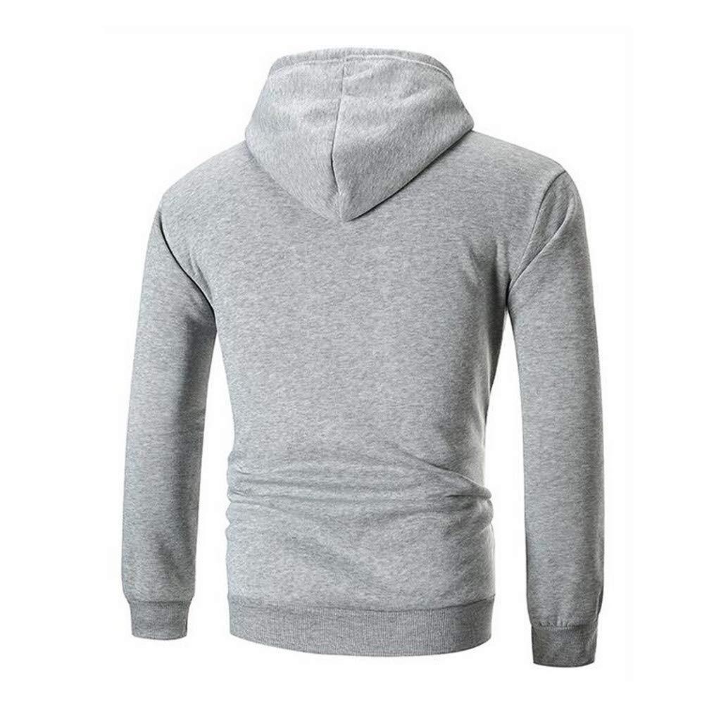 Mens Hoodies Full Zip Long Sleeve Patchwork Pockets Cozy Hooded Sweatshirts Tops by URIBAKE