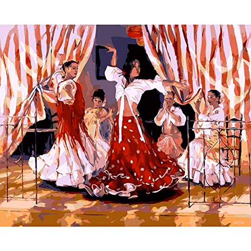 DIY Oil Painting by Numbers Kits Coloring Handpainted Spanish Dance Girl Pictures On Canvas Living Room Decor Wall Art