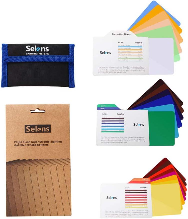 Selens Universal Gel Lighting Filter Kit for Camcorder LED Video Flash Light Transparent Colour Correction Lighting Film Plastic Film