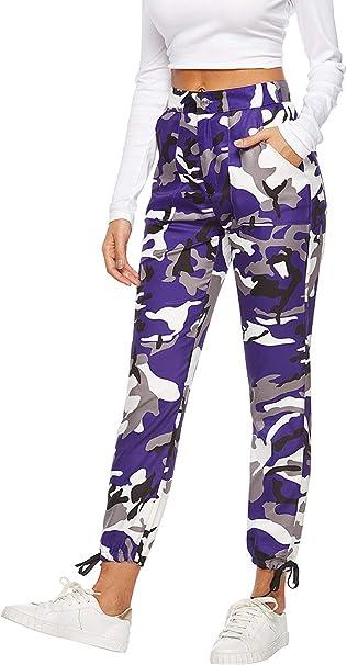 Pantalon Camuflaje Mujer Militar con Bolisllos Vintage Pantalone ...