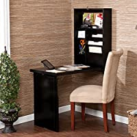 Space Saving Desk Folds and Hides Away. It Opens Into a Compact Computer Writing Workstation. Attractive Guaranteed Functionality Describes This Convertible Fold Out Desk. Unfolded, the Top Half Is a Convenient Storage Area. The Bottom Is for Writing.