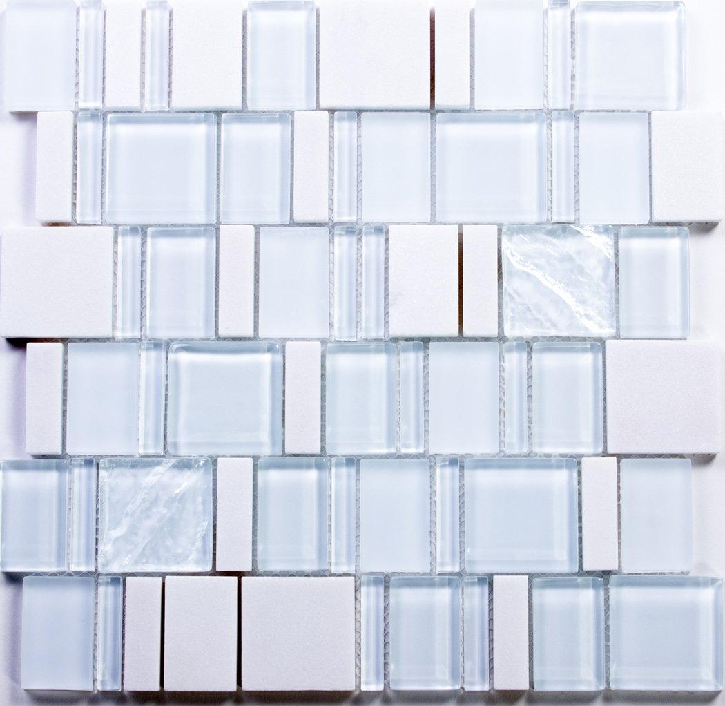 Super White Special Pattern Glass and Stone Mosaic Tile / 44 sq ft