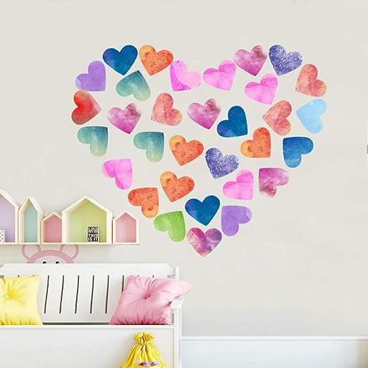 AFTUZC Pegatinas De Paredcolorido Corazón DIY Wall Sticker Sala ...
