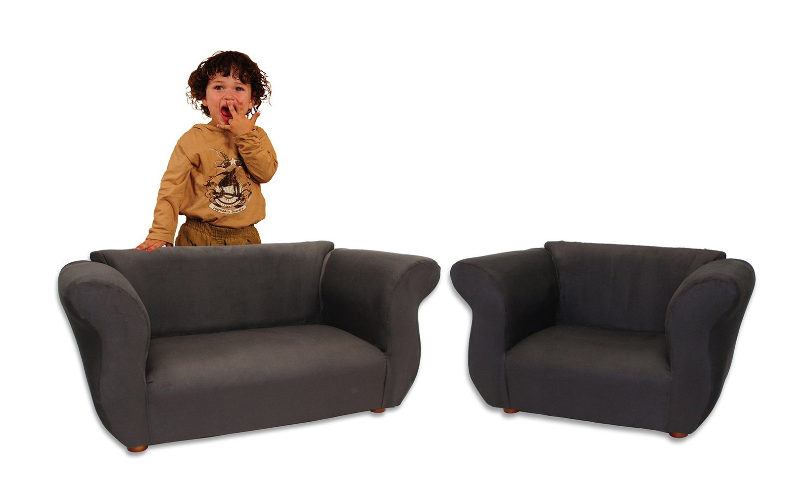 KEET Sofa and Chair Fancy Kid's Set, Black