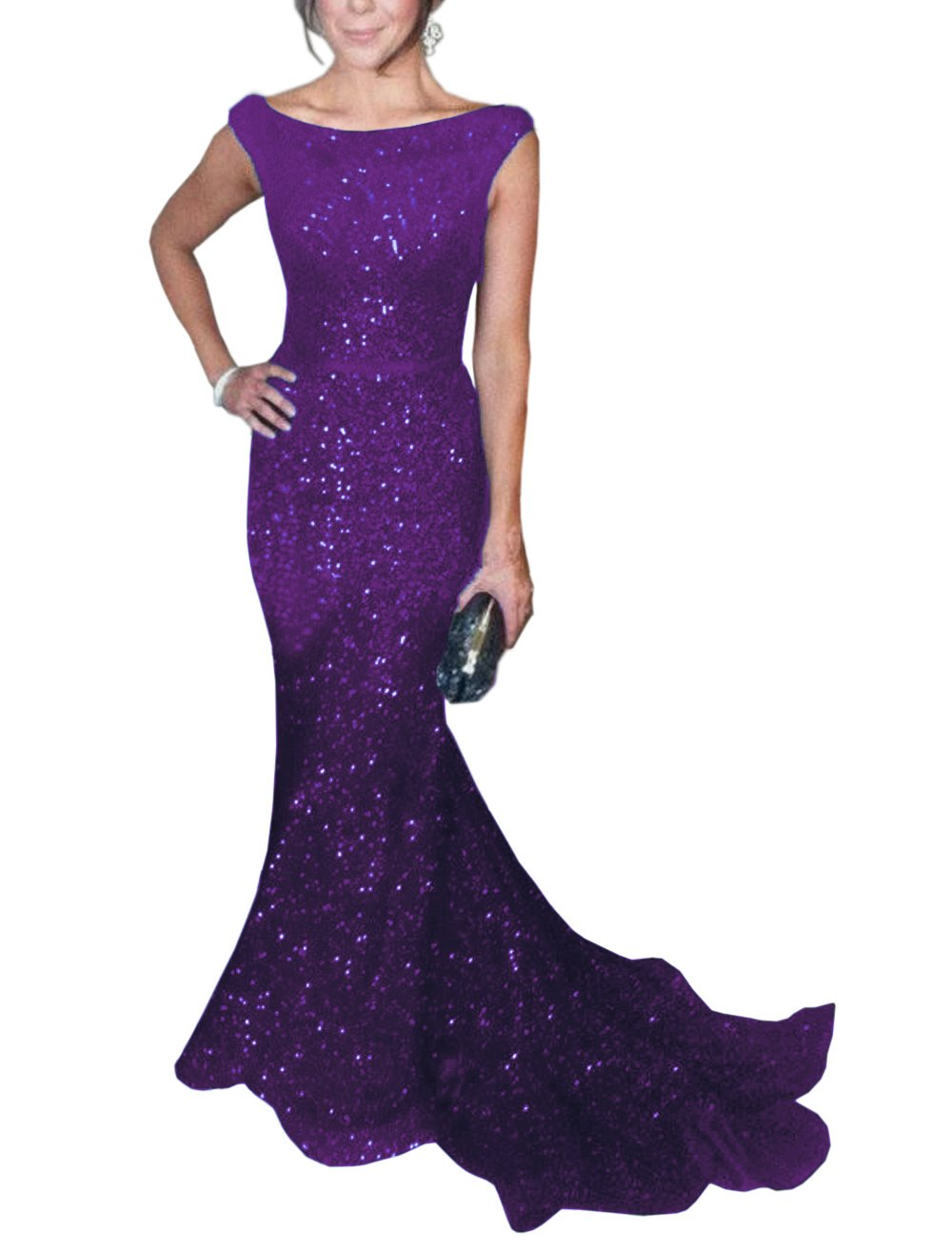 SOLOVEDRESS Women's Mermaid Sequined Formal Evening Dress for Wedding Prom Gown (US 22 Plus,Purple)